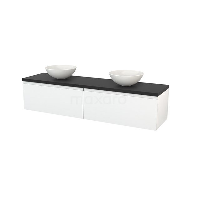 Badkamermeubel voor Waskom 180cm Hoogglans Wit Greeploos Modulo+ Plato Carbon Blad BMK002370