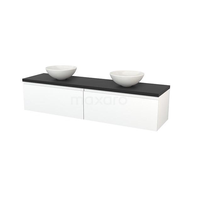 Badkamermeubel voor Waskom 180cm Mat Wit Greeploos Modulo+ Plato Carbon Blad BMK002394