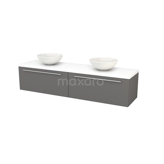 Badkamermeubel voor Waskom 180cm Basalt Vlak Modulo+ Plato Mat Wit Blad BMK002398
