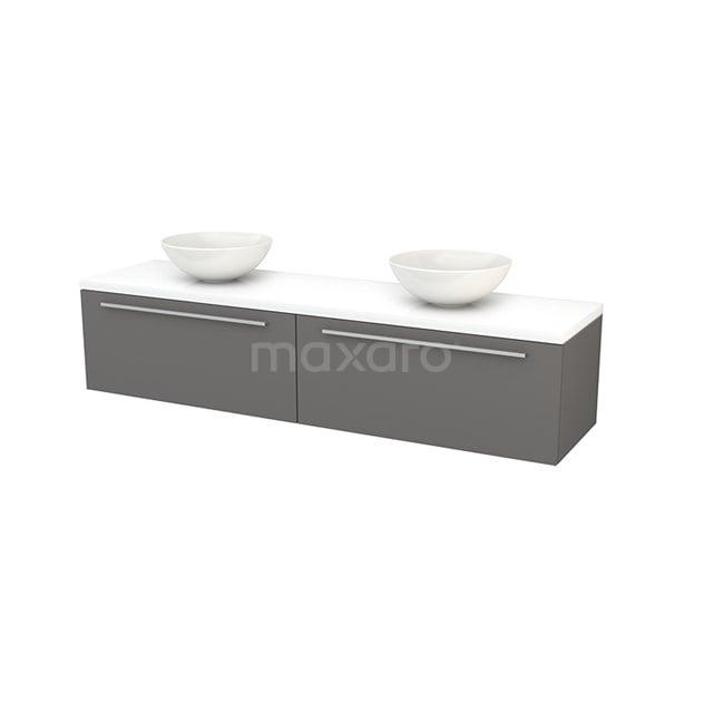 Badkamermeubel voor Waskom 180cm Basalt Vlak Modulo+ Plato Hoogglans Wit Blad BMK002399
