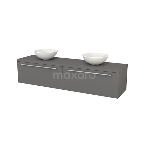 Badkamermeubel voor Waskom 180cm Modulo+ Plato Basalt 2 Lades Vlak BMK002400