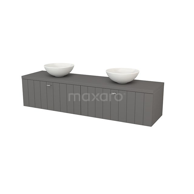 Badkamermeubel voor Waskom 180cm Modulo+ Plato Basalt 2 Lades Lamel BMK002403