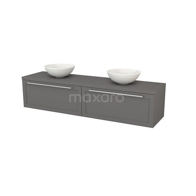 Badkamermeubel voor Waskom 180cm Modulo+ Plato Basalt 2 Lades Kader BMK002406