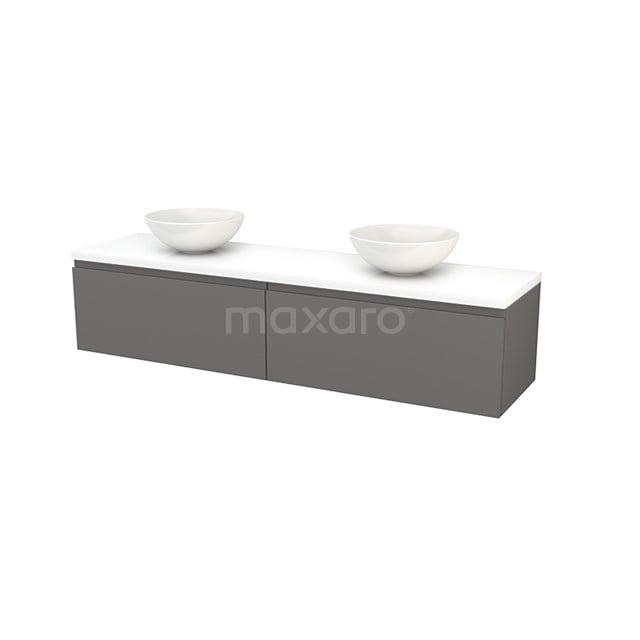 Badkamermeubel voor Waskom 180cm Basalt Greeploos Modulo+ Plato Hoogglans Wit Blad BMK002408
