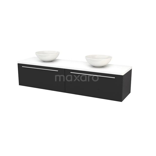 Badkamermeubel voor Waskom 180cm Carbon Vlak Modulo+ Plato Hoogglans Wit Blad BMK002411