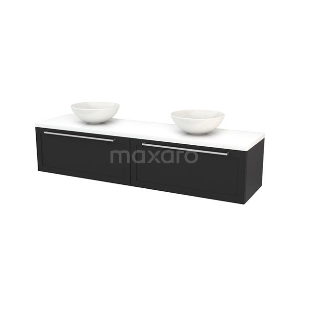 Badkamermeubel voor Waskom 180cm Carbon Kader Modulo+ Plato Hoogglans Wit Blad BMK002417