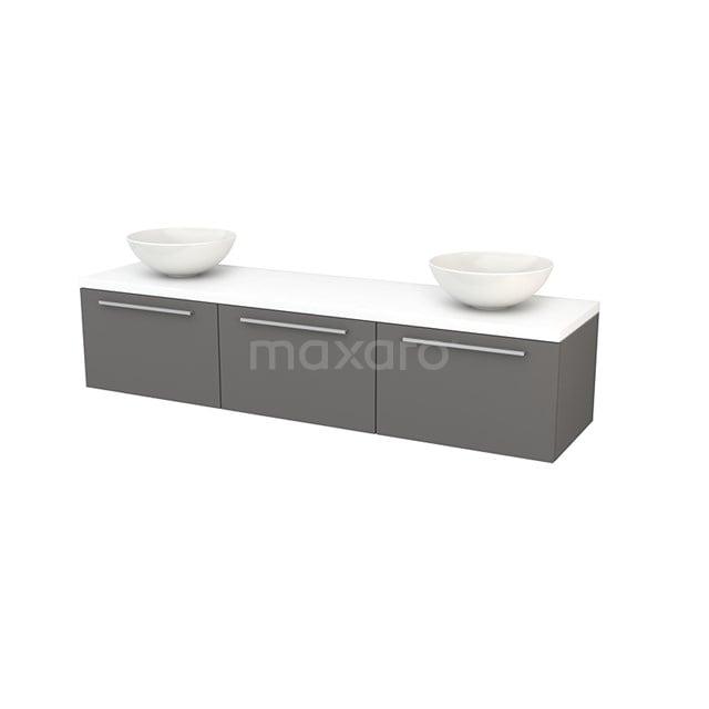 Badkamermeubel voor Waskom 180cm Basalt Vlak Modulo+ Plato Mat Wit Blad BMK002488