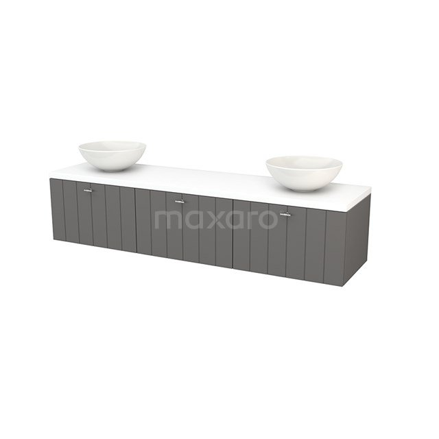 Badkamermeubel voor Waskom 180cm Basalt Lamel Modulo+ Plato Mat Wit Blad BMK002491