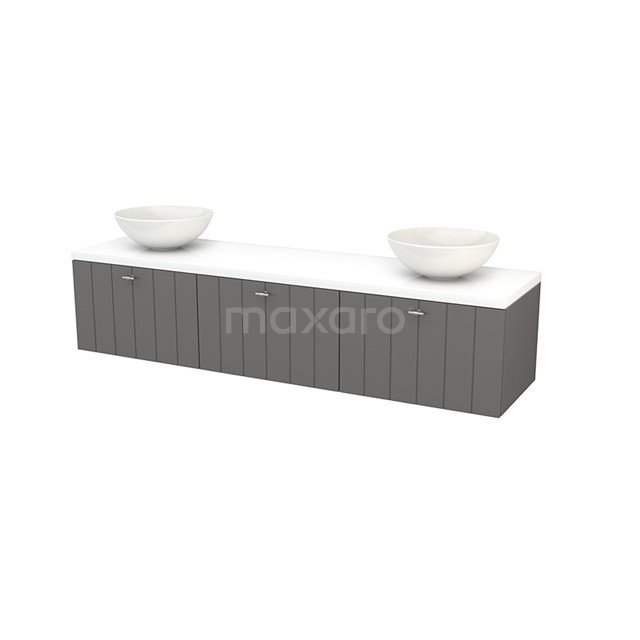 Badkamermeubel voor Waskom 180cm Basalt Lamel Modulo+ Plato Hoogglans Wit Blad BMK002492