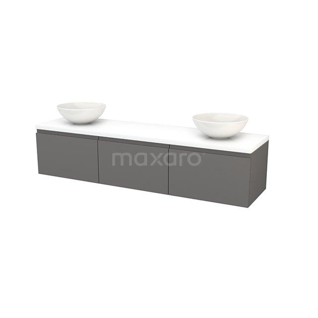 Badkamermeubel voor Waskom 180cm Basalt Greeploos Modulo+ Plato Hoogglans Wit Blad BMK002498