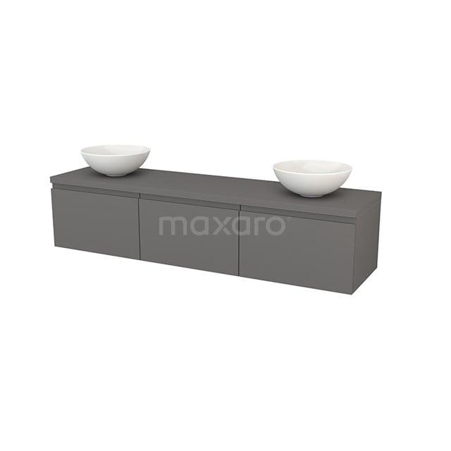 Badkamermeubel voor Waskom 180cm Modulo+ Plato Basalt 3 Lades Greeploos BMK002499