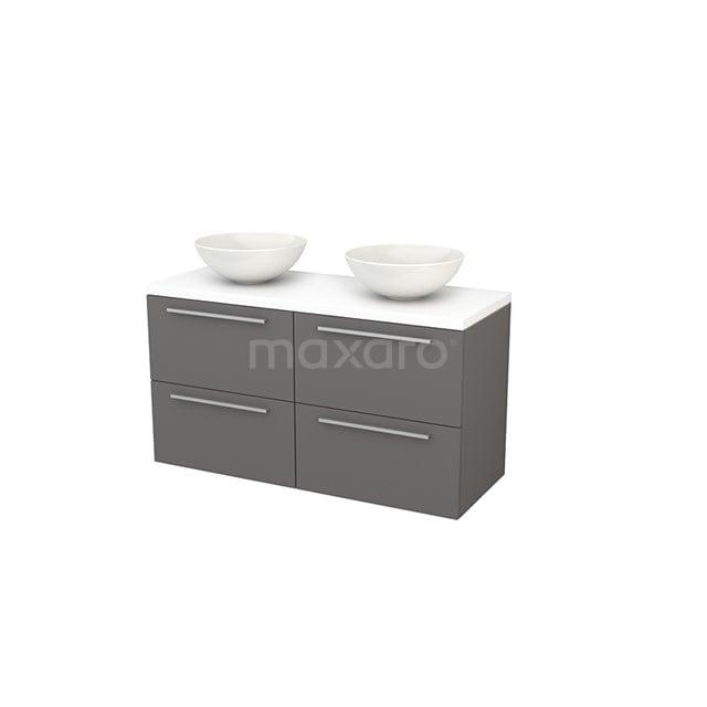Badkamermeubel voor Waskom 120cm Basalt Vlak Modulo+ Plato Mat Wit Blad BMK002578