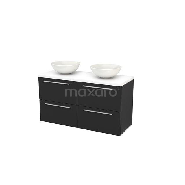 Badkamermeubel voor Waskom 120cm Carbon Vlak Modulo+ Plato Hoogglans Wit Blad BMK002591