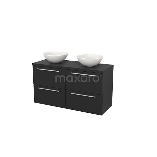 Badkamermeubel voor Waskom 120cm Modulo+ Plato Carbon 4 Lades Vlak BMK002592