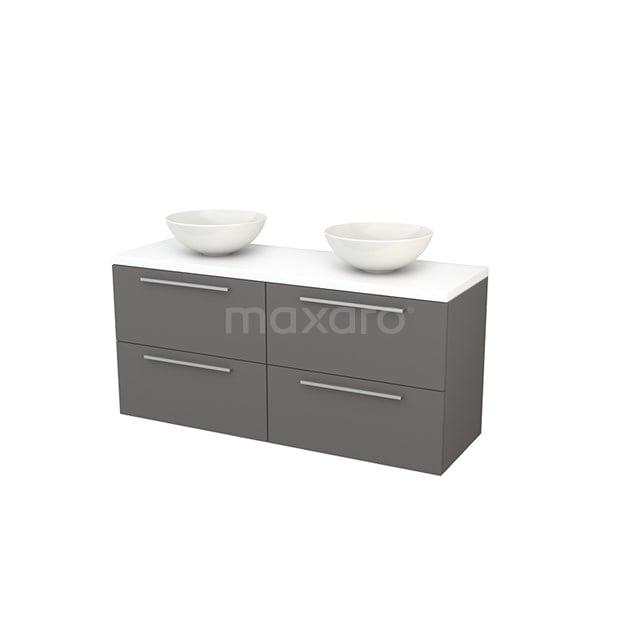 Badkamermeubel voor Waskom 140cm Basalt Vlak Modulo+ Plato Mat Wit Blad BMK002668