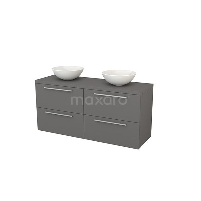 Badkamermeubel voor Waskom 140cm Modulo+ Plato Basalt 4 Lades Vlak BMK002670