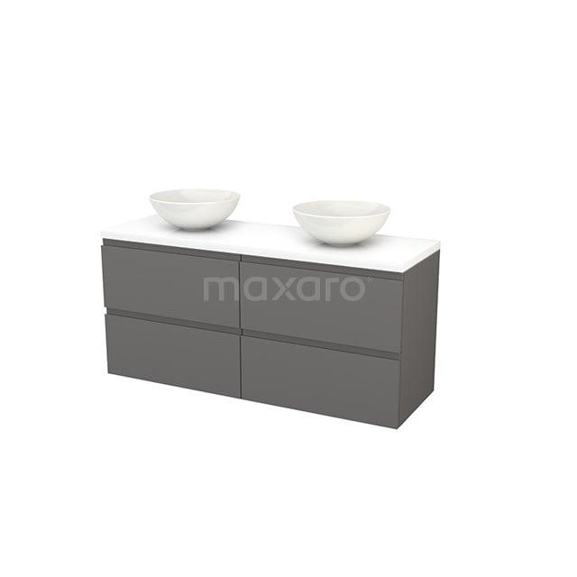 Badkamermeubel voor Waskom 140cm Basalt Greeploos Modulo+ Plato Hoogglans Wit Blad BMK002678