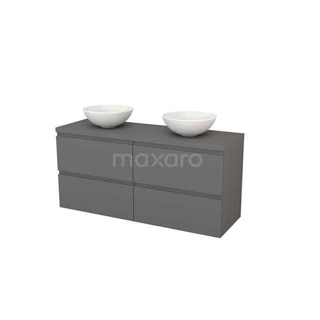 Badkamermeubel voor Waskom 140cm Modulo+ Plato Basalt 4 Lades Greeploos BMK002679