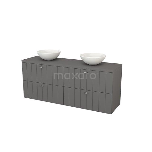 Badkamermeubel voor Waskom 160cm Modulo+ Plato Basalt 4 Lades Lamel BMK002763