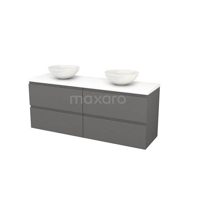 Badkamermeubel voor Waskom 160cm Basalt Greeploos Modulo+ Plato Mat Wit Blad BMK002767