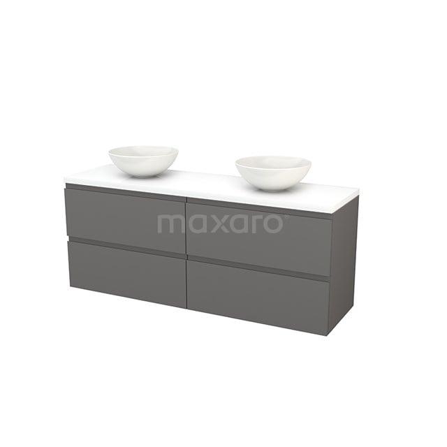 Badkamermeubel voor Waskom 160cm Basalt Greeploos Modulo+ Plato Hoogglans Wit Blad BMK002768