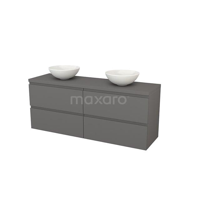 Badkamermeubel voor Waskom 160cm Modulo+ Plato Basalt 4 Lades Greeploos BMK002769