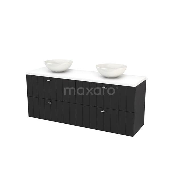 Badkamermeubel voor Waskom 160cm Carbon Lamel Modulo+ Plato Hoogglans Wit Blad BMK002774