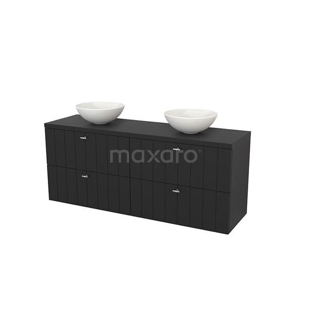Badkamermeubel voor Waskom 160cm Modulo+ Plato Carbon 4 Lades Lamel BMK002775