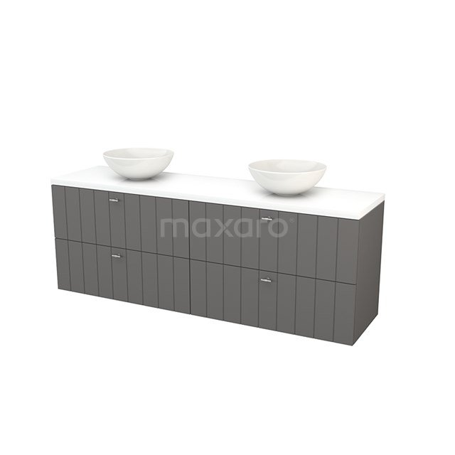 Badkamermeubel voor Waskom 180cm Basalt Lamel Modulo+ Plato Hoogglans Wit Blad BMK002852