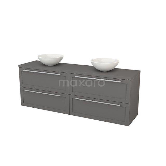 Badkamermeubel voor Waskom 180cm Modulo+ Plato Basalt 4 Lades Kader BMK002856