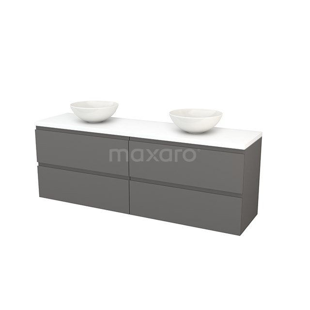 Badkamermeubel voor Waskom 180cm Basalt Greeploos Modulo+ Plato Mat Wit Blad BMK002857