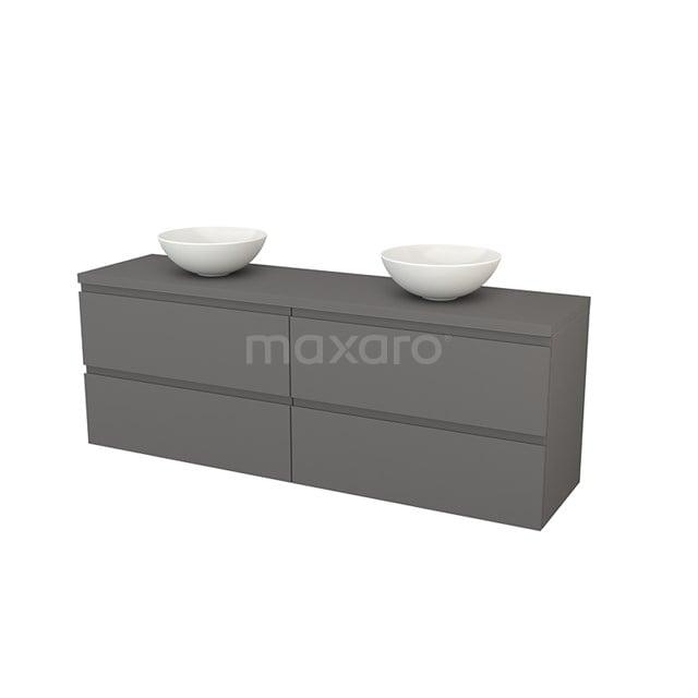 Badkamermeubel voor Waskom 180cm Modulo+ Plato Basalt 4 Lades Greeploos BMK002859