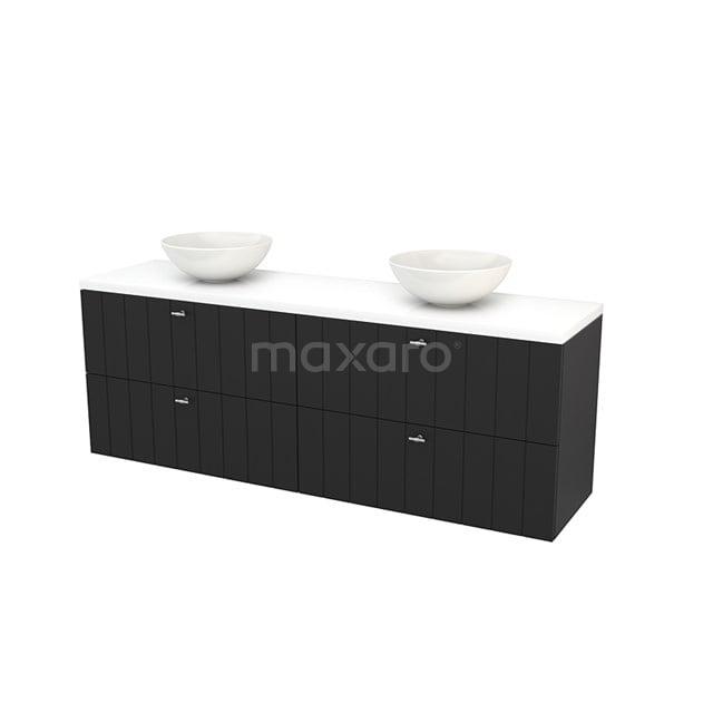 Badkamermeubel voor Waskom 180cm Carbon Lamel Modulo+ Plato Hoogglans Wit Blad BMK002864