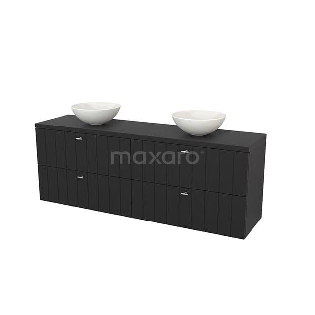 Badkamermeubel voor Waskom 180cm Modulo+ Plato Carbon 4 Lades Lamel BMK002865