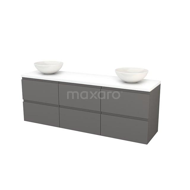 Badkamermeubel voor Waskom 180cm Basalt Greeploos Modulo+ Plato Hoogglans Wit Blad BMK002948
