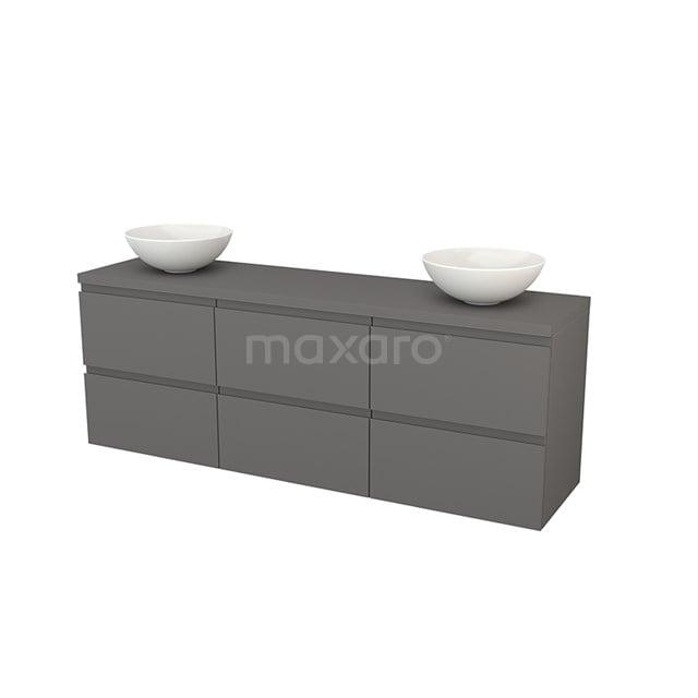 Badkamermeubel voor Waskom 180cm Modulo+ Plato Basalt 6 Lades Greeploos BMK002949