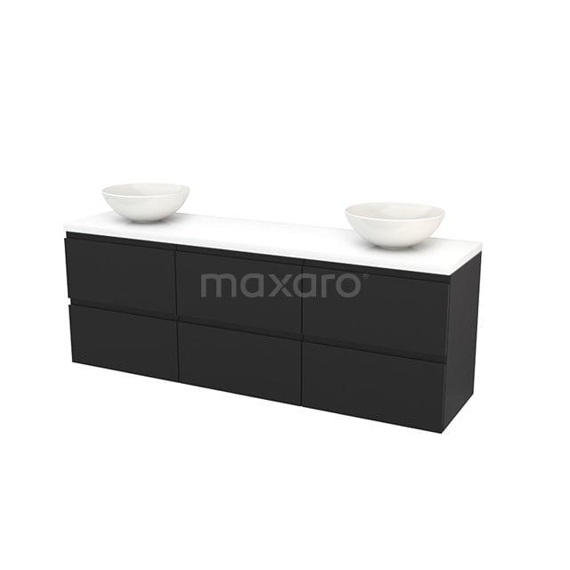 Badkamermeubel voor Waskom 180cm Carbon Greeploos Modulo+ Plato Hoogglans Wit Blad BMK002960