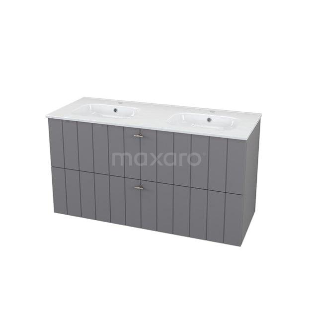 Badkamermeubel 120cm Modulo+ Basalt 2 Lades Lamel Wastafel Keramiek BMP000699