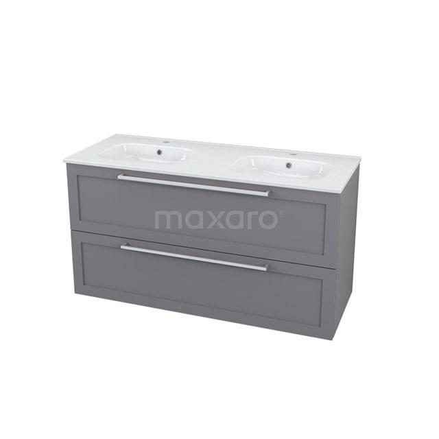 Badkamermeubel 120cm Modulo+ Basalt 2 Lades Kader Wastafel Keramiek BMP000712