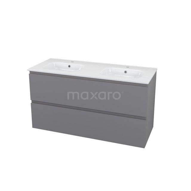 Badkamermeubel 120cm Modulo+ Basalt 2 Lades Greeploos Wastafel Keramiek BMP000725