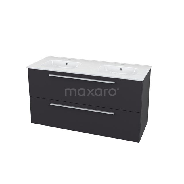Badkamermeubel 120cm Modulo+ Carbon 2 Lades Vlak Wastafel Keramiek BMP000738
