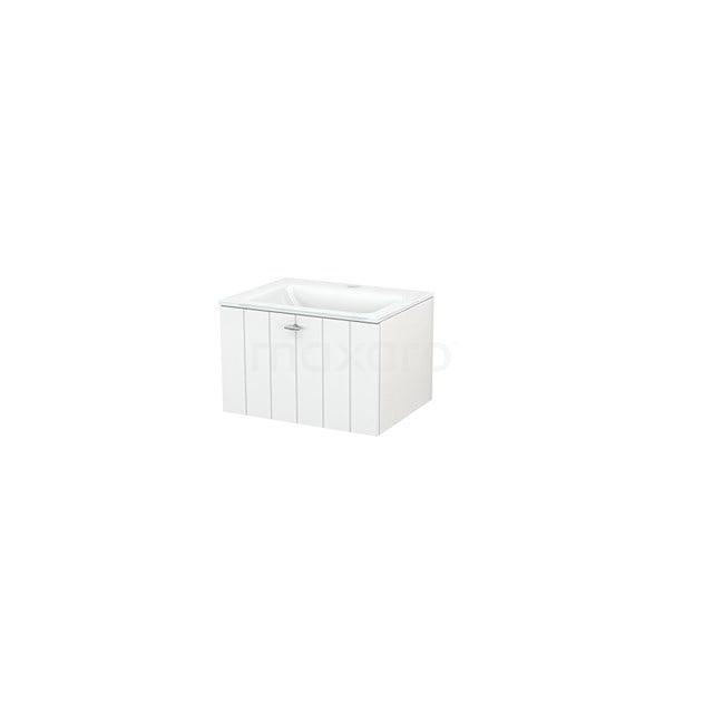 Badkamermeubel 60cm Modulo+ Hoogglans Wit 1 Lade Lamel Wastafel Glas BMP001010
