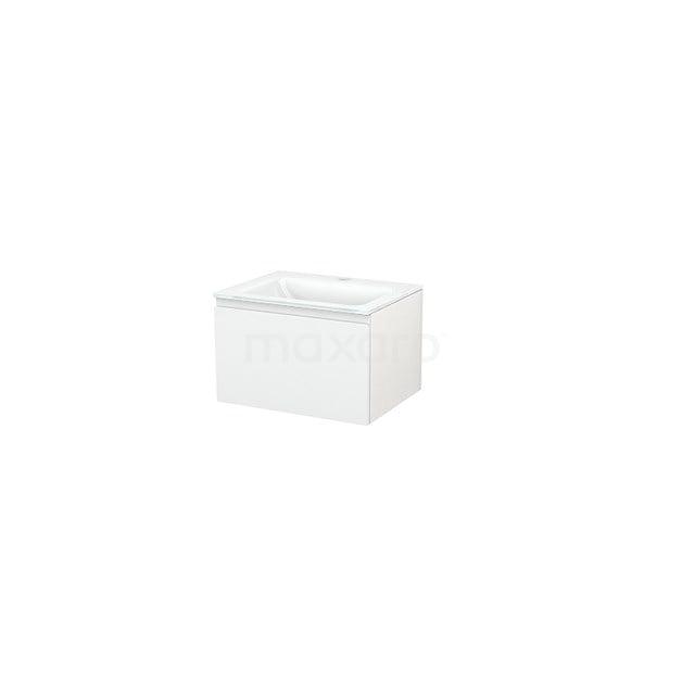 Badkamermeubel 60cm Modulo+ Hoogglans Wit 1 Lade Greeploos Wastafel Glas BMP001028