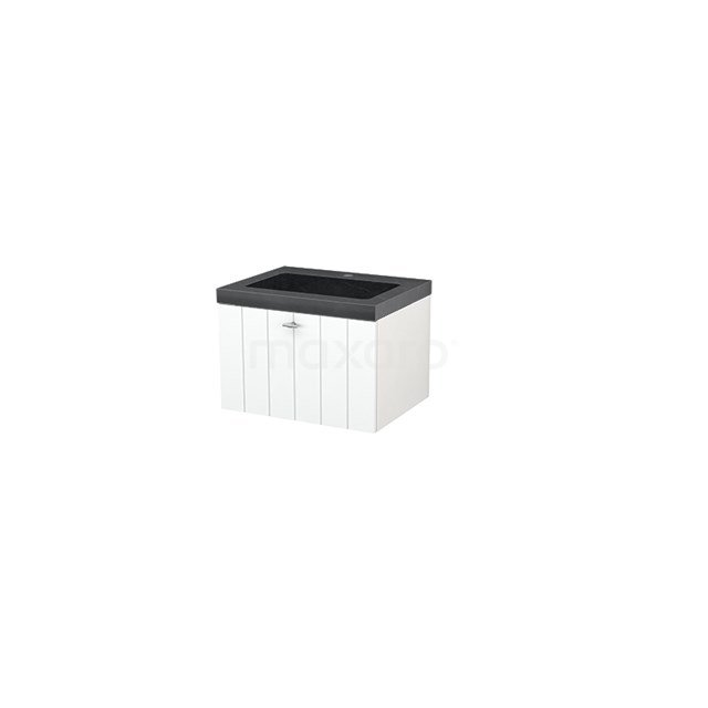 Badkamermeubel 60cm Modulo+ Mat Wit 1 Lade Lamel Wastafel Natuursteen Graniet BMP001052