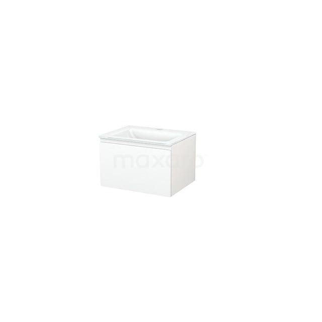 Badkamermeubel 60cm Modulo+ Mat Wit 1 Lade Greeploos Wastafel Glas BMP001064