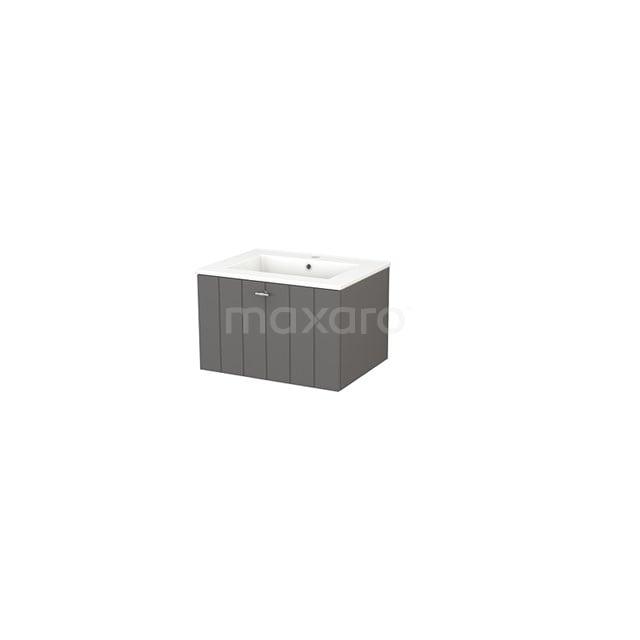 Badkamermeubel 60cm Modulo+ Basalt 1 Lade Lamel Wastafel Keramiek BMP001081