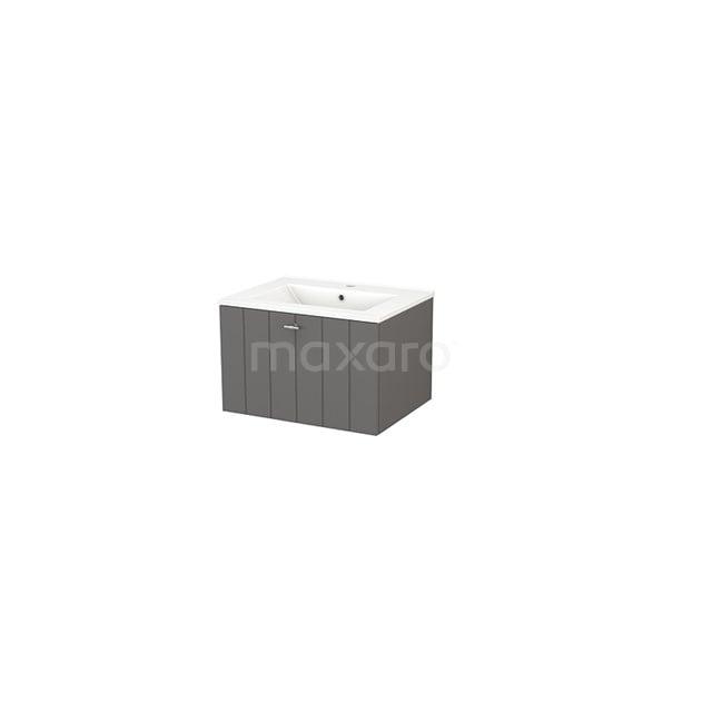 Badkamermeubel 60cm Modulo+ Basalt 1 Lade Lamel Wastafel Keramiek BMP001083