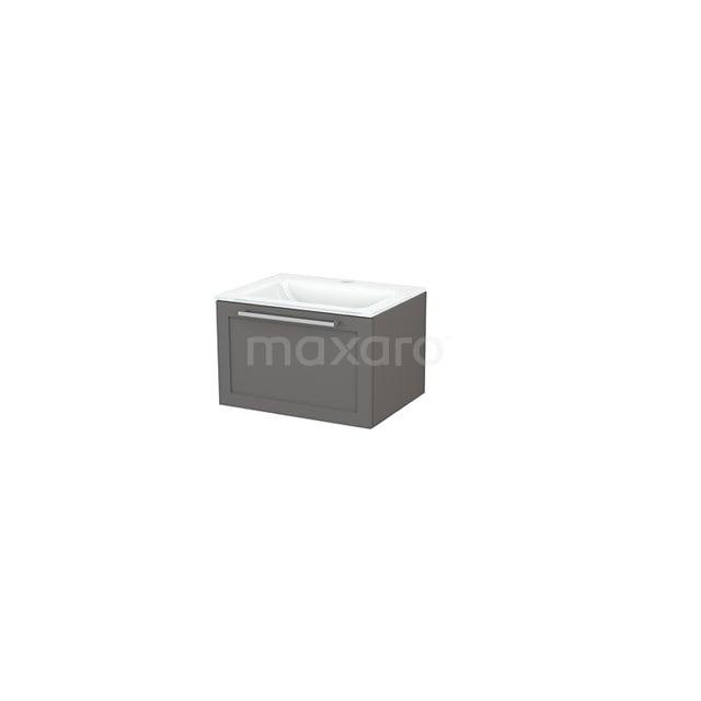 Badkamermeubel 60cm Modulo+ Basalt 1 Lade Kader Wastafel Glas BMP001091