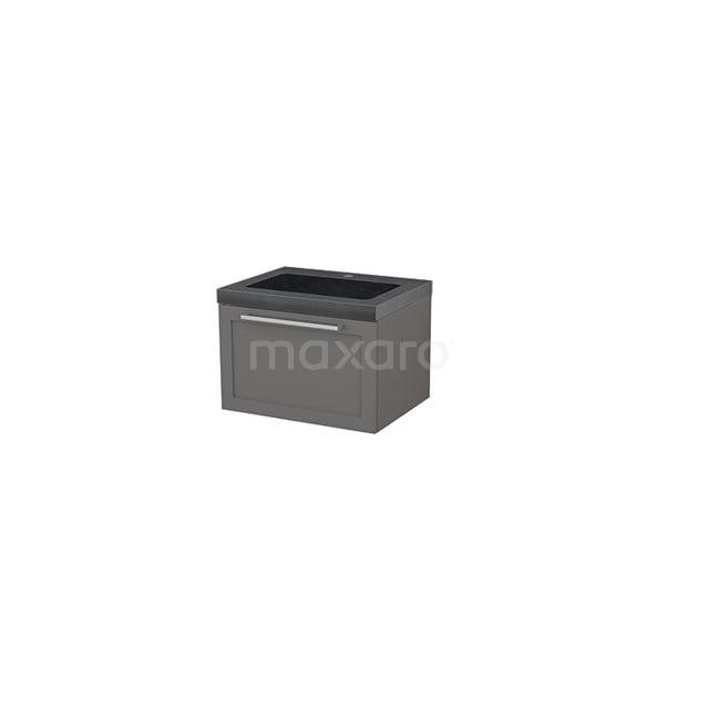 Badkamermeubel 60cm Modulo+ Basalt 1 Lade Kader Wastafel Natuursteen Graniet BMP001097