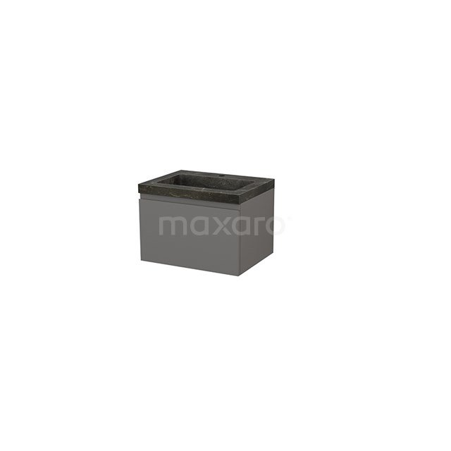 Badkamermeubel 60cm Modulo+ Basalt 1 Lade Greeploos Wastafel Natuursteen Blue Stone BMP001107